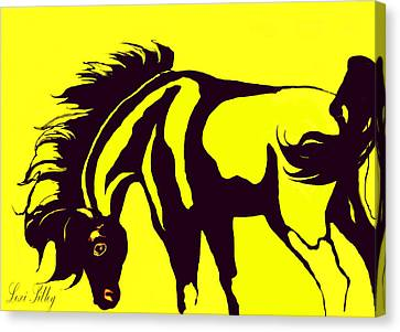Horse-black And Yellow Canvas Print by Loxi Sibley