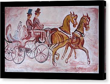 Canvas Print featuring the painting Horse Chariot by Anand Swaroop Manchiraju