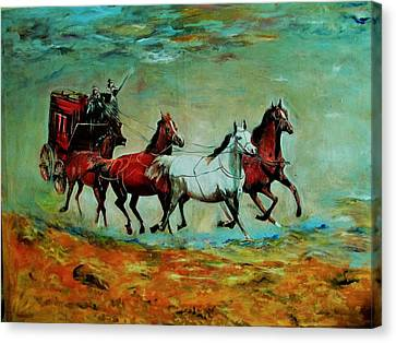 Horse Chariot Canvas Print by Khalid Saeed