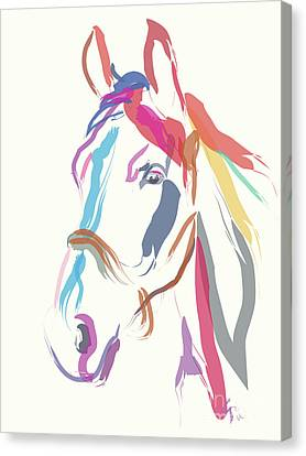 Horse Colour Me Beautiful In Ecru Canvas Print