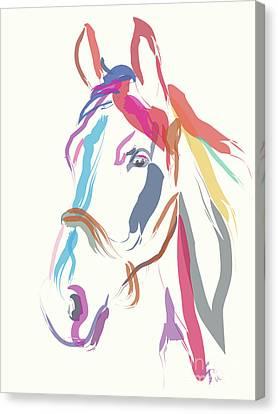Horse Colour Me Beautiful In Ecru Canvas Print