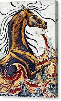 Horse Dances In Sea With Squid Canvas Print