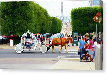 Horse Drawn Carriage And Riders, Nashville, Tn Canvas Print by Art Spectrum