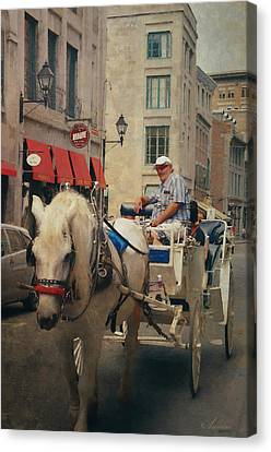 Horse Drawn Carriage - Old Montreal Canvas Print by Maria Angelica Maira