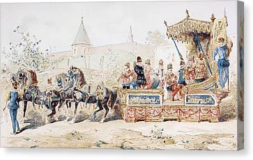 Horse Drawn Decorated Wagon Carrying Canvas Print