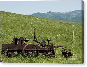 Canvas Print featuring the photograph Horse Drawn Ditch Digger by Daniel Hebard