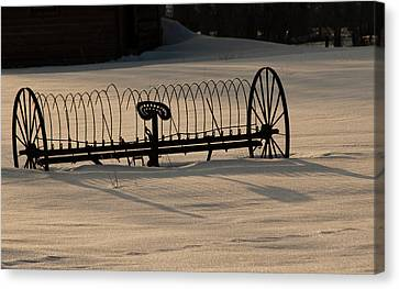 Canvas Print featuring the photograph Horse Drawn Hay Rake by Daniel Hebard