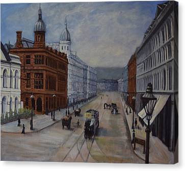 Horse Drawn Tram...royal Avenue, Belfast Circa 1898 Canvas Print