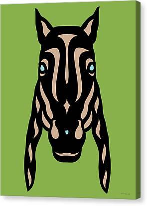 Canvas Print featuring the digital art Horse Face Rick - Horse Pop Art - Greenery, Hazelnut, Island Paradise Blue by Manuel Sueess
