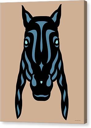 Canvas Print featuring the digital art Horse Face Rick - Horse Pop Art - Hazelnut, Niagara Blue, Island Paradise Blue by Manuel Sueess