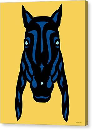 Horse Face Rick - Horse Pop Art - Primrose Yellow, Lapis Blue, Island Paradise Blue Canvas Print by Manuel Sueess