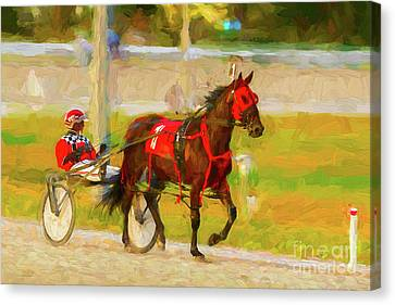 Horse, Harness And Jockey Canvas Print by Les Palenik