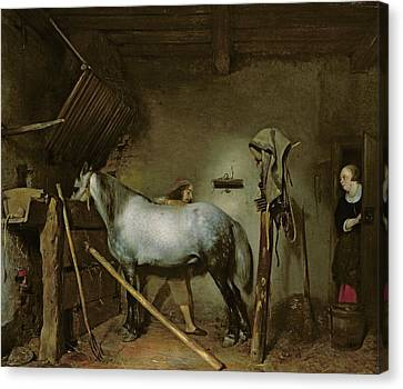 Horse Stable Canvas Print - Horse In A Stable by Gerard Terborch