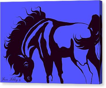 Horse In Blue And Black Canvas Print by Loxi Sibley
