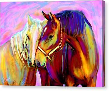 Horse Love Canvas Print by Karen Derrico