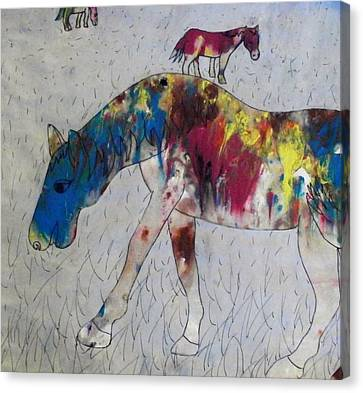 Canvas Print featuring the painting Horse Of A Different Color by Thomasina Durkay