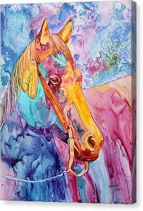 Horse Of Many Colors Canvas Print by Nancy Jolley