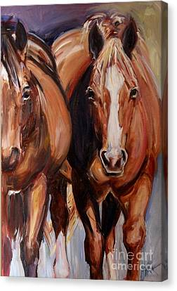 Bay Horse Canvas Print - Horse Oil Painting by Maria's Watercolor