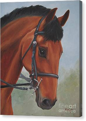 Canvas Print featuring the painting Horse Portrait by Jindra Noewi