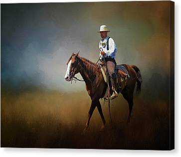 Canvas Print featuring the photograph Horse Ride At The End Of Day by David and Carol Kelly