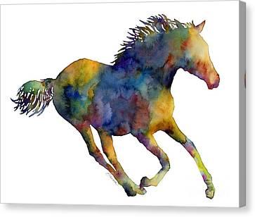 Horse Running Canvas Print by Hailey E Herrera