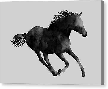 Horse Running In Black And White Canvas Print by Hailey E Herrera