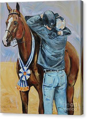 Chestnut Horse Canvas Print - Horse Show Art, Equitation Champion by Maria's Watercolor