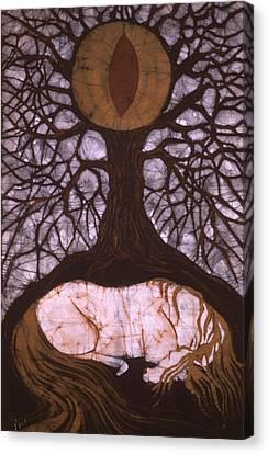 Horse Sleeps Below Tree Of Rebirth Canvas Print by Carol  Law Conklin