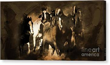 Horse Stampede Art 08a Canvas Print by Gull G