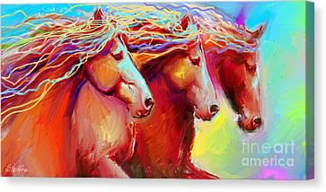Horse Stampede Painting Canvas Print by Svetlana Novikova