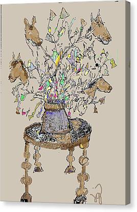 Horse Table Canvas Print
