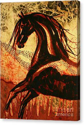 Horse Through Web Of Fire Canvas Print by Carol Law Conklin