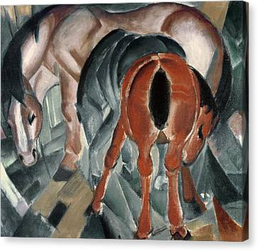Horse With Two Foals Canvas Print by Franz Marc
