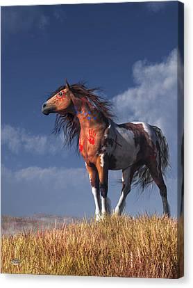 Horse With War Paint Canvas Print by Daniel Eskridge