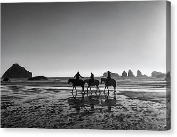 Horseback Storytelling Black And White Canvas Print by Mark Kiver