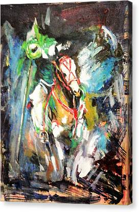 Horse,horseman And The Target Canvas Print by Khalid Saeed