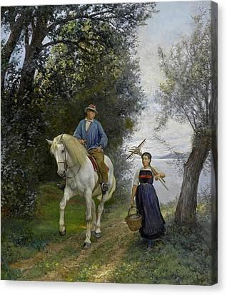 Horseman At A Lake Canvas Print by Rudolf Koller