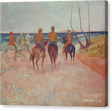 Horseman On The Beach Canvas Print by Paul Gauguin