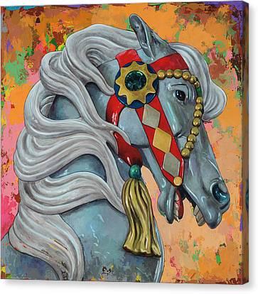 Round Canvas Print - Horses #6 by David Palmer