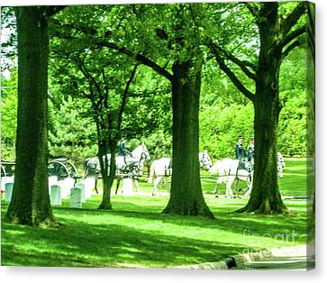 Horses And Caissons At Arlington Cemetery Canvas Print by William Rogers