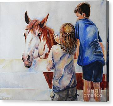 Horses And Children Painting Canvas Print by Maria's Watercolor