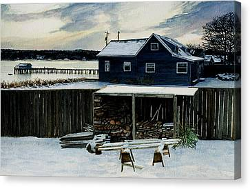 Horses And Woodshed Canvas Print