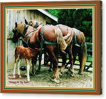 Stone Pony Canvas Print - Horses At The Barn H A With Decorative Ornate Printed Frame. by Gert J Rheeders