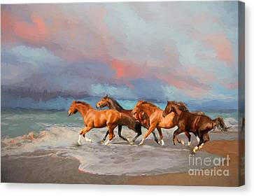 Horses At The Beach Canvas Print