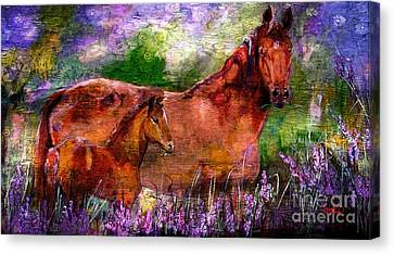 Horses Chestnut Mare And Foal Canvas Print by Ginette Callaway