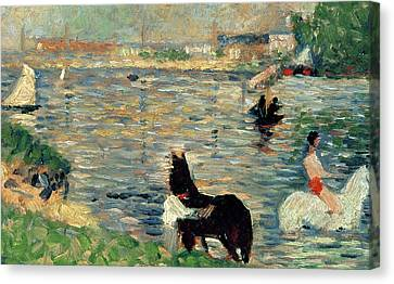 White River Scene Canvas Print - Horses In A River by Georges Pierre Seurat