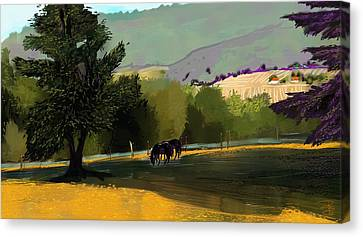 Horses In Field Canvas Print