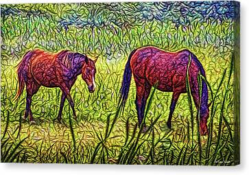 Horses In Tranquil Field Canvas Print