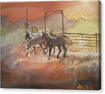 Canvas Print featuring the painting Horses by Julie Todd-Cundiff