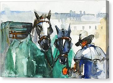 Carriage Canvas Print - Horses by Kristina Vardazaryan
